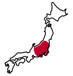 simplified map of japan outline with slightly vector image