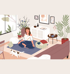 smiling girl sitting cross-legged in her room or vector image