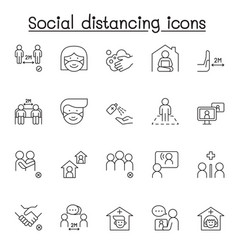 social distance icons set in thin line style vector image