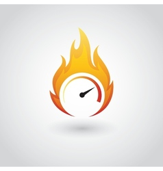 speedometer on fire vector image