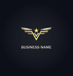 star wing gold logo vector image
