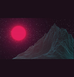Synthwave virtual 3d landscape background pink vector