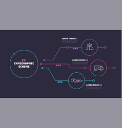 thin line infographic scheme with 3 options vector image
