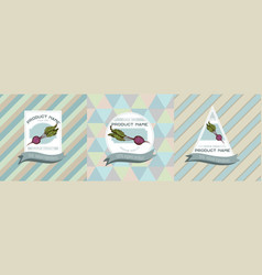 three colored labels with beet vector image