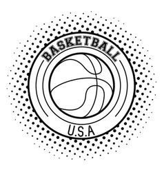 usa basketball sport game in black and white vector image