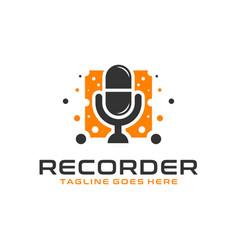 Voice data recorder modern logo vector
