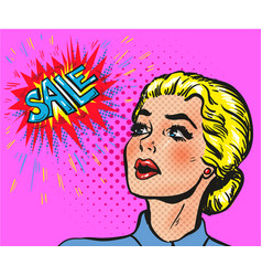 Wow pop art comic female face blond with sale vector