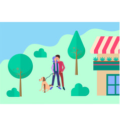 young people walking their dog and hugging near vector image