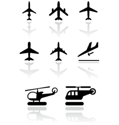 airplane helicopter symbol set vector image