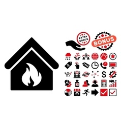 Building Fire Flat Icon with Bonus vector image vector image