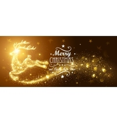 Christmas card with silhouette Magic Deer vector image
