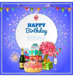Happy birthday party background poster vector image vector image