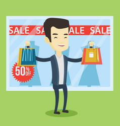 man shopping on sale vector image vector image