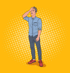Pop art stressed man covering his face with hand vector