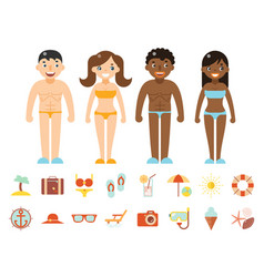 summer vacation male female characters color beach vector image vector image