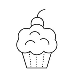 cupcake with cherries vector image