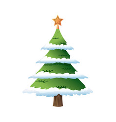 Decorated christmas tree pine with snow star vector