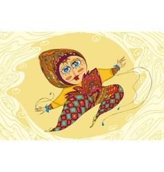 Girl Jump Ornamental vector image vector image