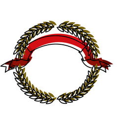 green olive branches forming a circle with red vector image vector image