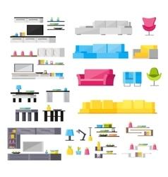 Interior Elements Orthogonal Icons Set vector image