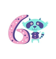 Raccoon Standing Next To Number Six Stylized Funky vector image vector image