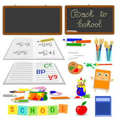 school objects set vector image vector image