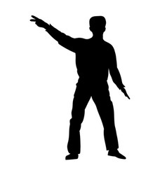 silhouettes dancing showman vector image vector image