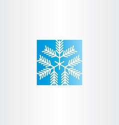 snowflake blue square icon vector image vector image