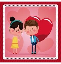 boy big red haerts girl funny pink hearts vector image