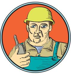 Builder Carpenter Holding Radio Phone Circle Retro vector image vector image