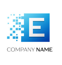 letter e logo symbol in the colorful square with vector image vector image