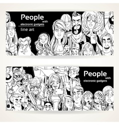 People with electronic gadgets line art on two vector