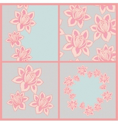 Set of four lace patterns with flowers vector image vector image