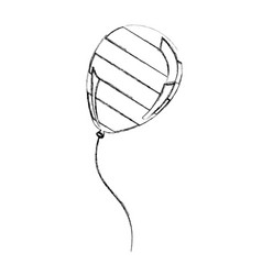silhouette balloon with stripes independece day vector image