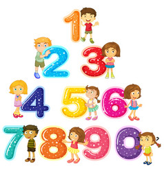 Children and numbers one to zero vector