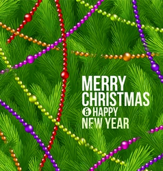 Christmas tree branches and color decor vector image vector image