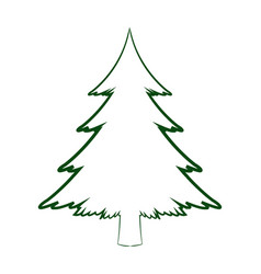 green silhouette pine tree christmas celebration vector image vector image
