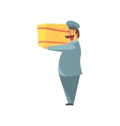 Postman Holding Large Package On Shoulder vector image