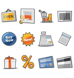 shopping icons fresh collection vector image vector image