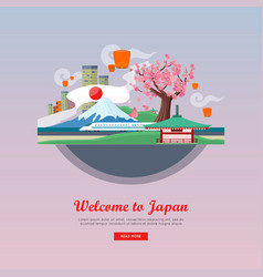 welcome to japan flat style web banner vector image