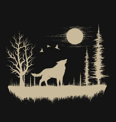 wolf in the strange forest vector image vector image