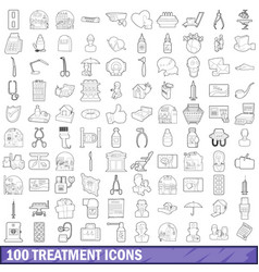 100 treatment icons set outline style vector image