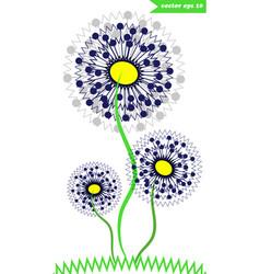 3 dandelions vector image