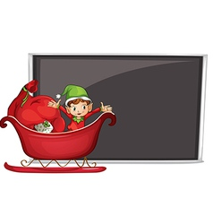 A boy riding in a sleigh with gifts vector