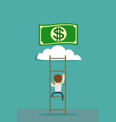 A man climbs the stairs to the money vector