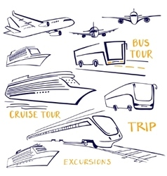 A set of vehicles for travel Air water and land vector