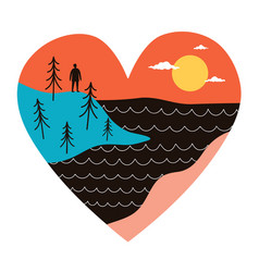 abstract with heart mountain landscape doodle vector image