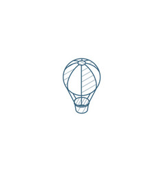 air balloon isometric icon 3d line art technical vector image