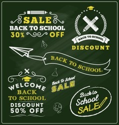 Back to school sale promotional badge and labels vector