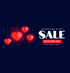 beautiful happy valentines day sale banner design vector image